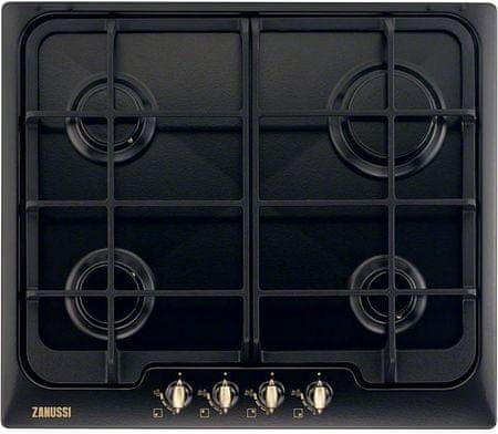 Zanussi ZGG 66414CA Beépíthető rusztikus főzőlap, Fekete