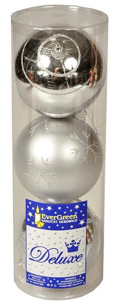 EverGreen Koule lesklé a matné s dekorem stříbrné, 3 ks