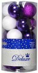 EverGreen Gömb karácsonyfadísz, Lila/Fehér, 20 db