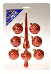 EverGreen Set špica in 6 kosov krogel rdeč