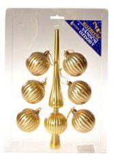 EverGreen Set špica in 6 kosov krogel zlat