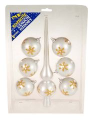 EverGreen Set špica in 6 kosov krogel srebrna s snežinkami