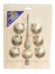 EverGreen Set špica in 6 kosov krogel srebrn