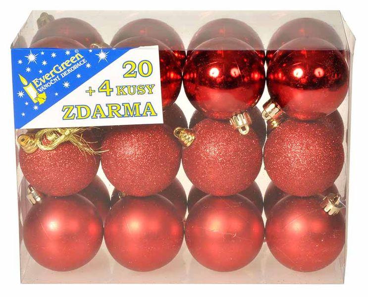 EverGreen Sada koulí 3 dekory 24 ks červená