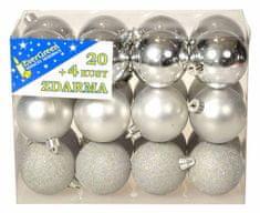 EverGreen Sada koulí 3 dekory 24 ks stříbrná
