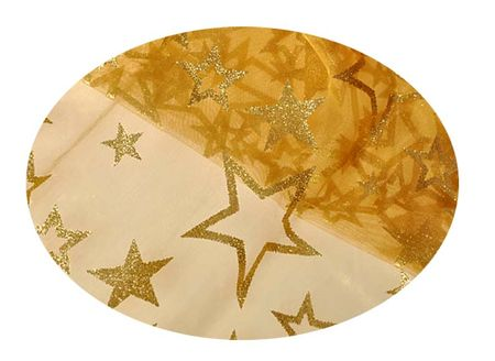 EverGreen Dekoračná organza hviezdy s glitrami 2 x 1,5 m
