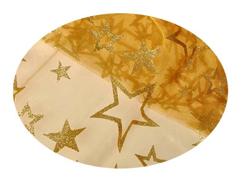 EverGreen Dekorační organza hvězdy s glittry 2 x 1,5 m