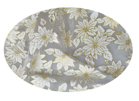 EverGreen Dekoračná organza kvety strieborná 2 x 1,5 m