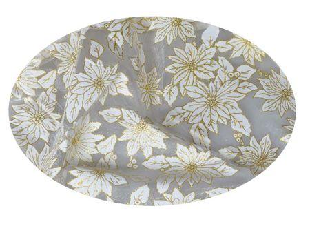 EverGreen Dekorační organza květy stříbrná 2 x 1,5 m