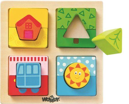 Woody Doštička s puzzle tvarmi Slnko domova