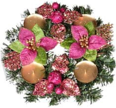 EverGreen Adventný veniec poinsettia ružová