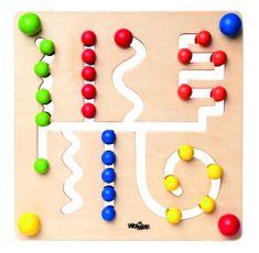 Woody Motoros labirintus színes golyókkal