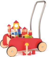 Woody Kolorowy wózek z drewnianymi klockami 91807