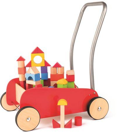 Woody Kovový vozík s drevenými kockami