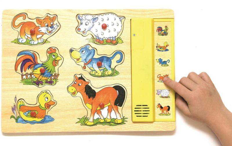 Woody Muzikální puzzle žluté - Domácí zvířata