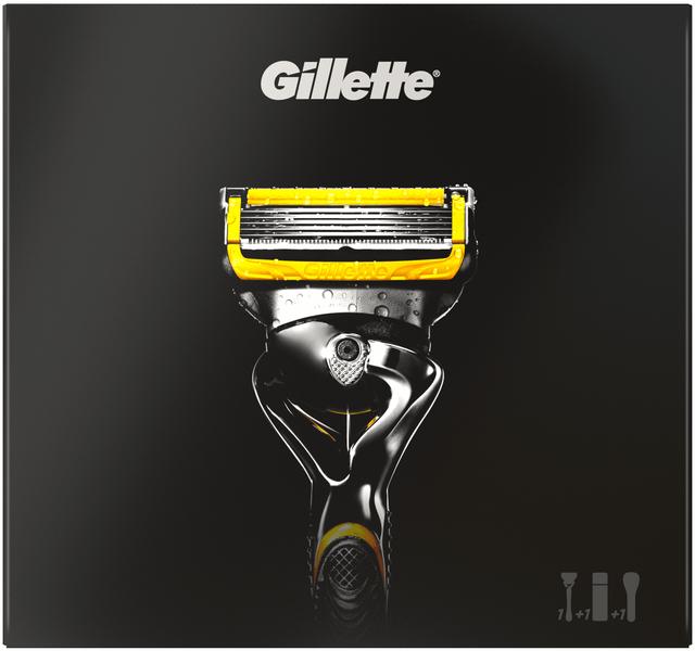 Gillette Fusion Proshield Holicí strojek + Sensitive Gel na holení 170 ml + Cestovní pouzdro Dárková sada