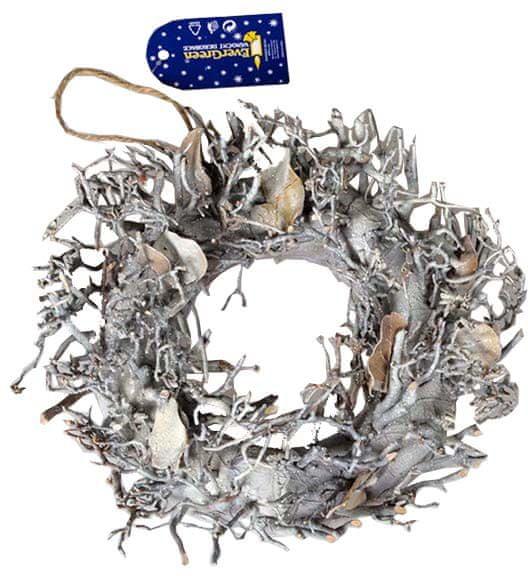EverGreen Věnec s dekoracemi stříbrný