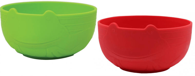 JJ Rabbit Miska Žába - zelená, červená, 2ks