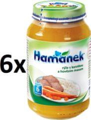 Hamánek Rýže s karotkou a hovězím masem 6x230g