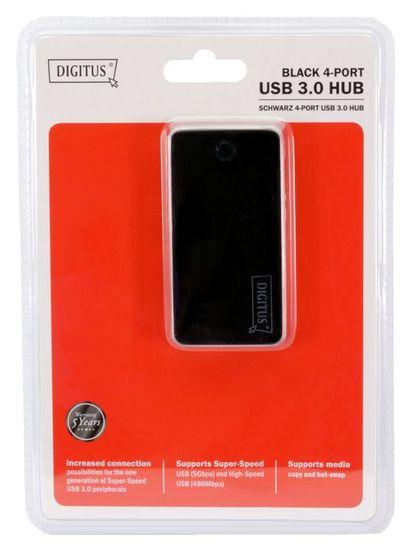 Digitus hub USB 3.0 4 x A + AC adapter, črn