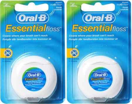 Oral-B zobna nitka Essential Floss Mint, 2 x 50 m