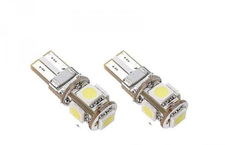 M-LINE žarnica LED 12V W5W-T10 5xSMD 5050 CANBUS, bela, par