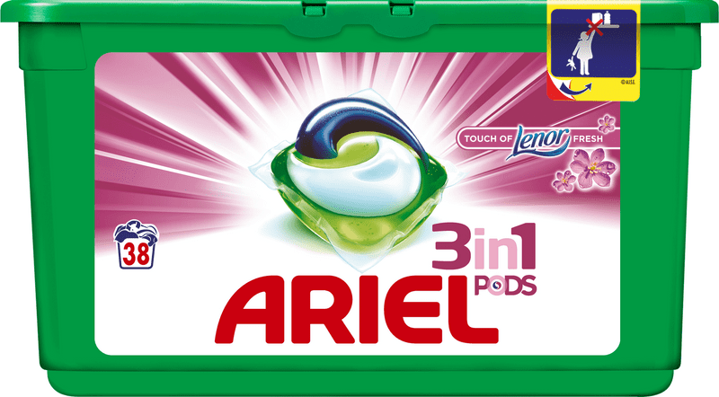Ariel Touch of Lenor Fresh 3v1 gelové prací kapsle 38 ks