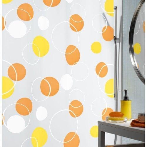 Spirella Sprchový závěs Bubble Orange 180x200 cm