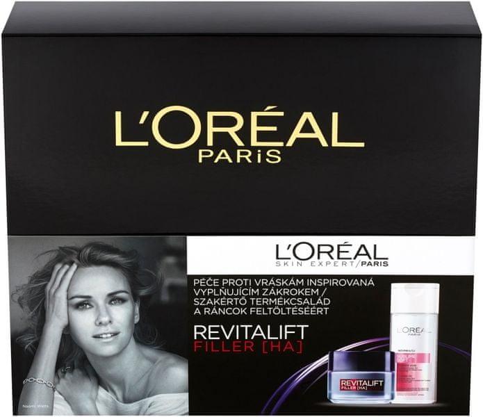 L'Oréal Revitalift Filler Denní krém proti stárnutí 50 ml + micelární voda Sublime Soft 200 ml, Dárková sada