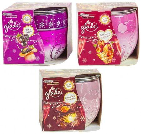 Glade Glade svečka, 3 kos (Berry Delight, Luminous Apple Spice, Chocolate Celebration)