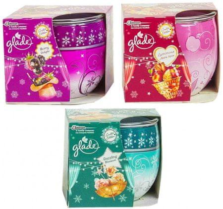 Glade Glade svečka, 3 kos (Berry Delight, Luminous Apple Spice, Dazzling Blossom)