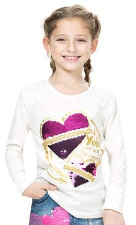 Desigual dekliška majica 128 smetanasta