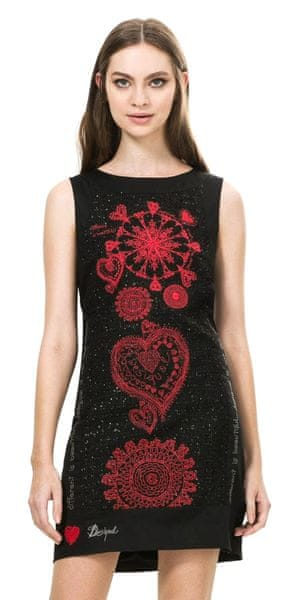 Desigual dámské šaty se vzorem 38 černá