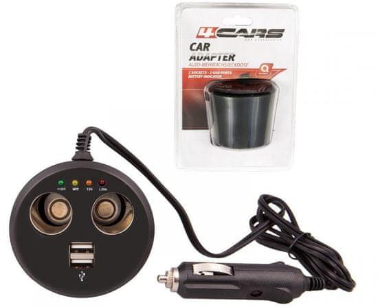 4Cars Rozdvojka zapaľovača 12V s USB a testerom batérie