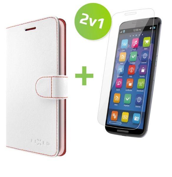 Fixed flipové pouzdro FIT, bílé + tvrzené sklo na displej, Huawei Y5 II, set 2v1