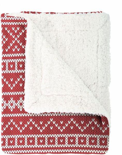 Mistral Home Pléd beránek Knitting 150x200 cm, červená