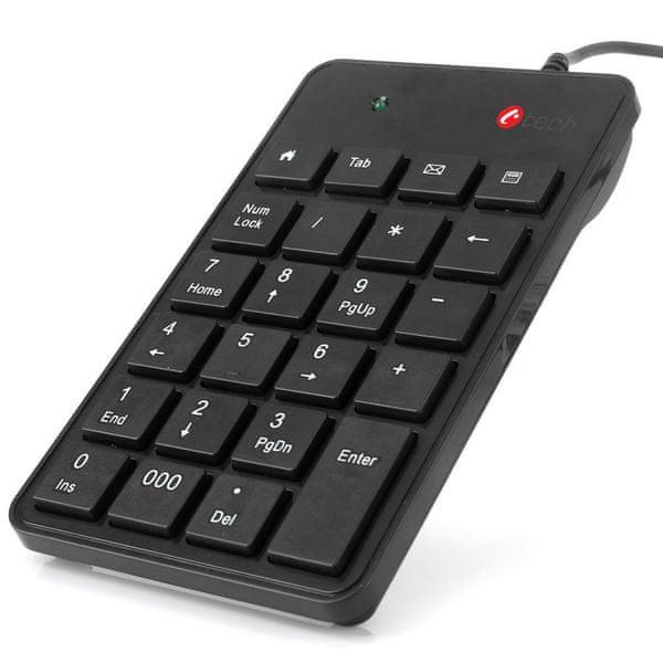 C-Tech Klávesnice numerická, 23 kláves, USB slim černá (KBN-01)