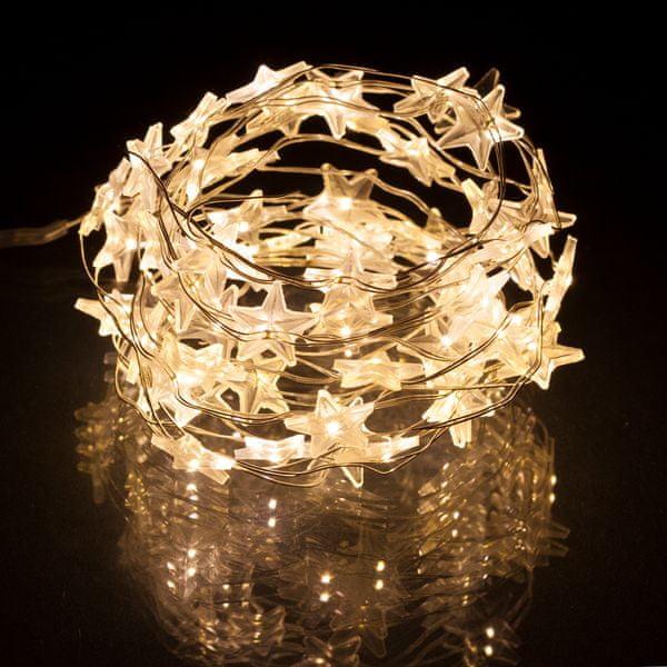 Retlux Vánoční LED řetěz hvězdy bílé 3 m