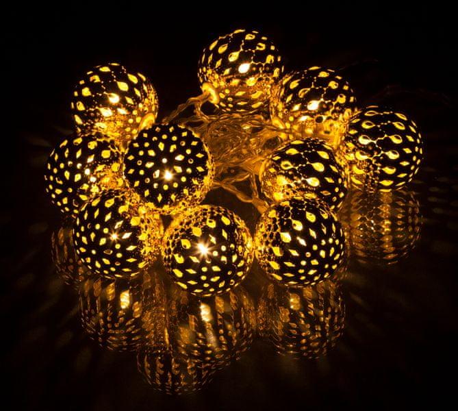 Retlux Dekorativní zlaté metalové LED koule