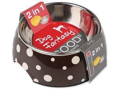 Dog Fantasy nerez miska kulatá hnědá s puntíky 350ml