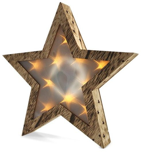 Solight Dřevěná LED vánoční hvězda velká