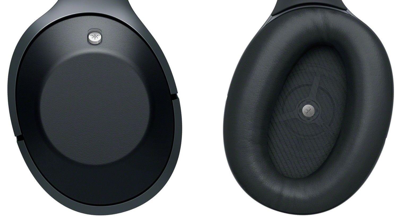 sluchátka Sony MDR-1000X s náušníky z přiléhavého polyuretanu
