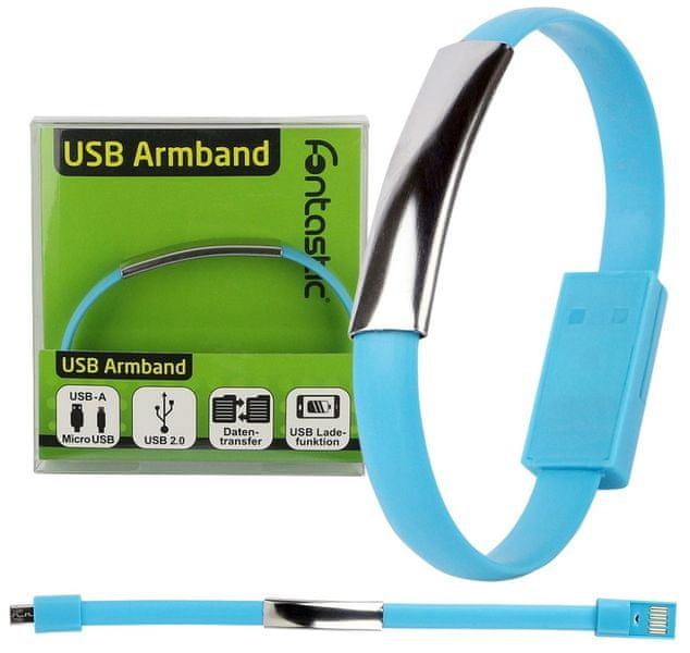 Fontastic Datový kabel micro USB a elegantní náramek BRACELET, 20 cm, modrý