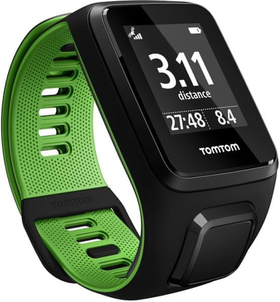 "TomTom Runner 3 Cardio + Music GPS, black/green, ""L"" + Bluetooth sluchátka"