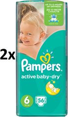 Pampers Pieluszki Active Baby Giantpack 6 ExtraLarge - 2 x 56 szt - 128 szt