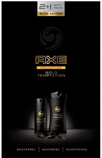 Axe Gold Temptation Dřevěná sluchátka + sprchový gel 50 ml + deospray 150 ml Dárková sada