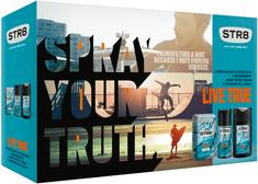 STR8 Live True Voda po holení 50 ml + Deospray 150 ml + Sprchový gel 250 ml Dárková sada