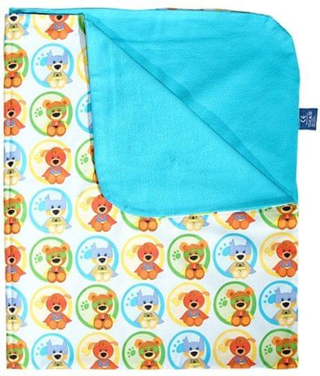 CuddlyZOO Dětská deka letní - superhero/modrá