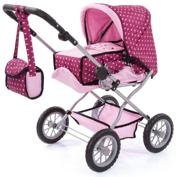 Bayer Design Combi Grande kočárek pro panenky světle růžová/tmavě růžová