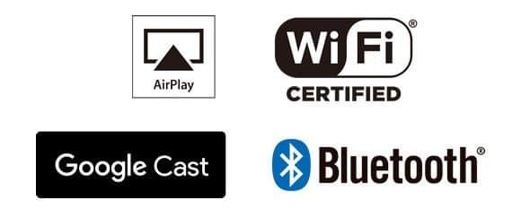 AirPlay, Wi-Fi, Google Cast, Bluetooth